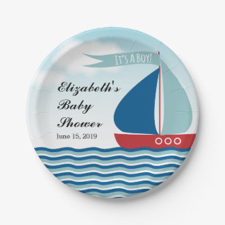 Sailboat on Water It's A Boy, Nautical Baby Shower Paper Plate