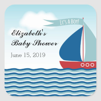 Sailboat on Water It's A Boy, Nautical Baby Shower Square Sticker