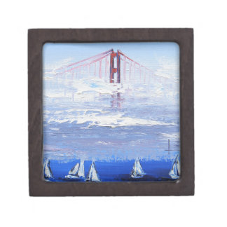 Sailboat Original Painting, Golden Gate Bridge Gift Box