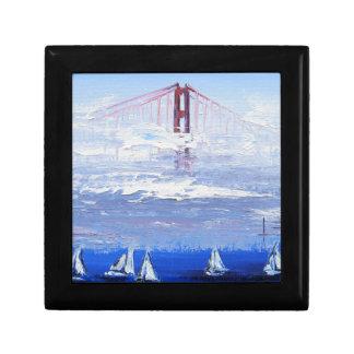 Sailboat Original Painting, Golden Gate Bridge Jewelry Box