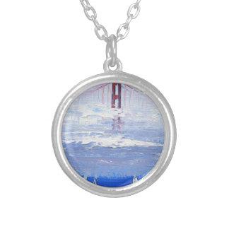 Sailboat Original Painting, Golden Gate Bridge Round Pendant Necklace