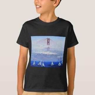 Sailboat Original Painting, Golden Gate Bridge T-Shirt
