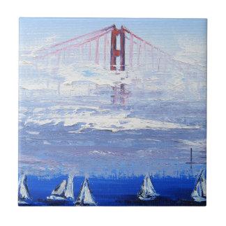 Sailboat Original Painting, Golden Gate Bridge Small Square Tile