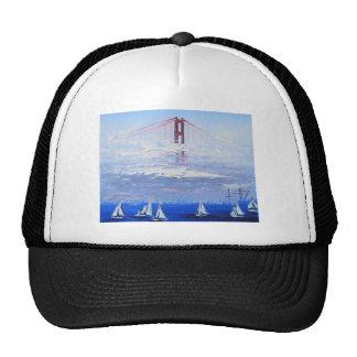 Sailboat Original Painting, Golden Gate Bridge Trucker Hat