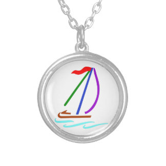 Sailboat Outline Round Pendant Necklace