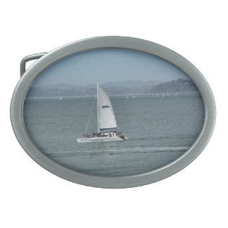 Sailboat Oval Belt Buckle