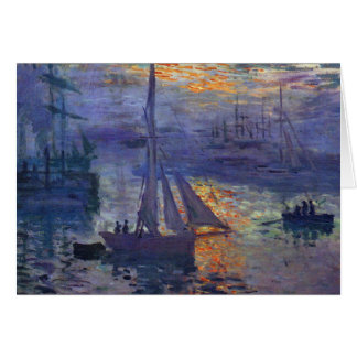 Sailboat painting boating art Monet sunrise at sea Card
