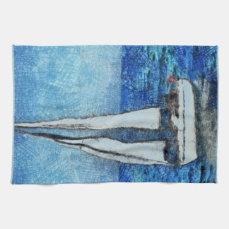Sailboat painting kitchen towels