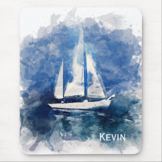 Sailboat Painting Personalized Mouse Pad