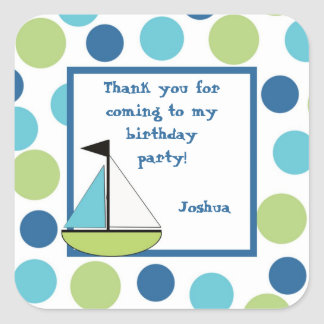 Sailboat Party Favor Square Sticker personalized