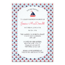 Sailboat Pattern - 3x5 Baby Shower Invitation