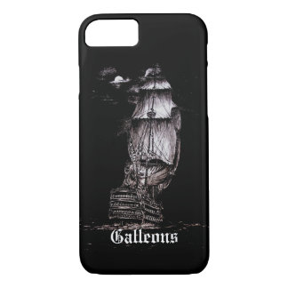 Sailboat Pen & Ink Drawing iPhone 7 cover on Black