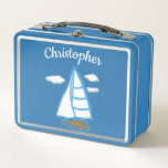 """Sailboat Personalized Nautical Metal Lunch Box<br><div class=""""desc"""">This sailboat comes from one of my original nautical illustrations! The lunch box is ready to personalize with the template. Artwork &#169; Abigail Davidson.</div>"""