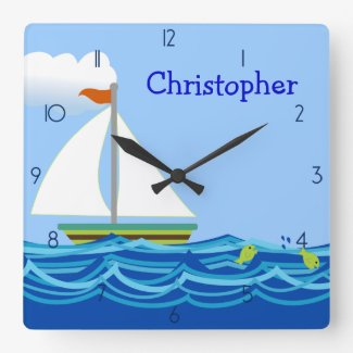 Sailboat Personalized Clock