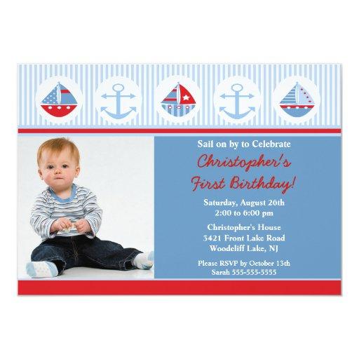 "Sailboat Photo Birthday Invitation 5"" X 7"" Invitation Card"