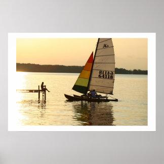 Sailboat picking on Lake Mendota Poster