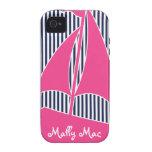 Sailboat PInk Monogram Preppy Iphone 4 4s Case Case-Mate iPhone 4 Case
