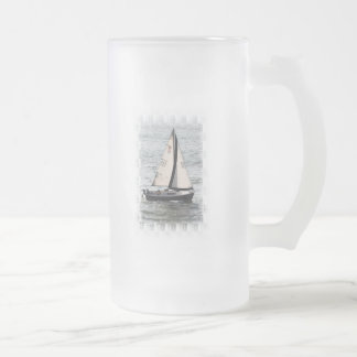 Sailboat Race Frosted Beer Mug