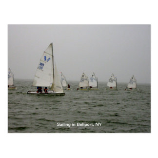 Sailboat races at Bellport Dock, Bellport NY Postcard