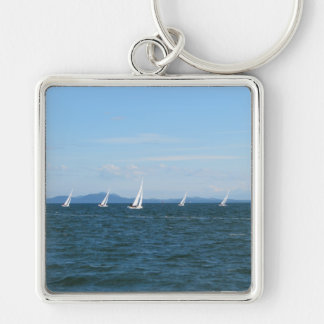 Sailboat Races Silver-Colored Square Keychain