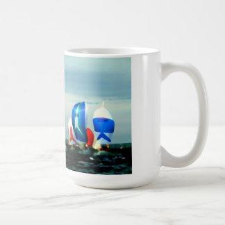 sailboat racing classic white coffee mug