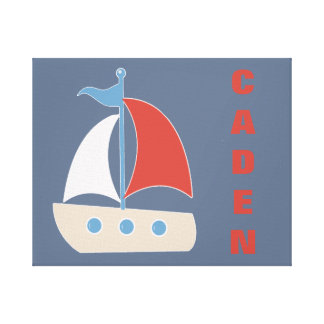 Sailboat Red Blue Personalized Art Canvas Print