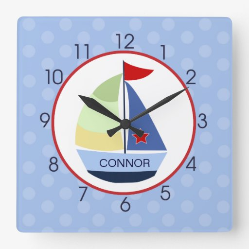 Sailboat Red, Navy, Light Blue Wall clock