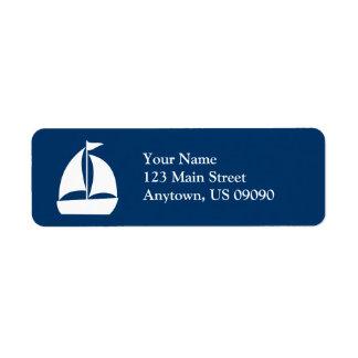 Sailboat Return Address Label (Dark Blue / White)