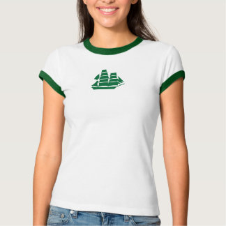 sailboat ringer t in green and white t shirts