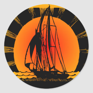 Sailboat Sailing At Sunset Classic Round Sticker