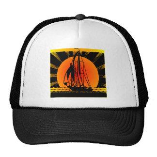 Sailboat Sailing At Sunset Mesh Hats