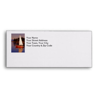 Sailboat Sailing at Sunset Photo Envelope
