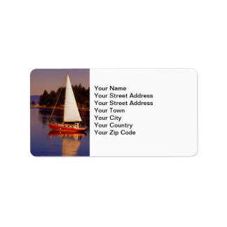 Sailboat Sailing at Sunset Photo Label