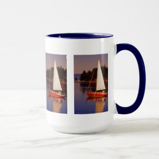 Sailboat Sailing at Sunset Photo Mug