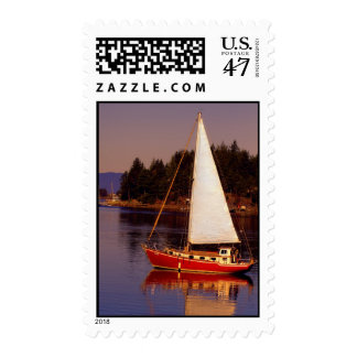 Sailboat Sailing at Sunset Photo Postage