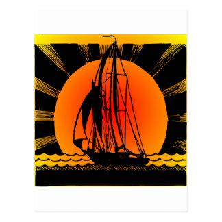 Sailboat Sailing At Sunset Postcard