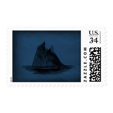 USA Themed Sailboat Sailing boat USA Postal Stamp
