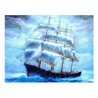 Sailboat sailing in the sea postcard