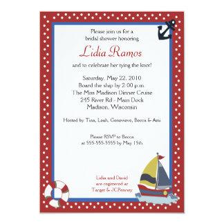 Sailboat Sailing Nautical 5x7 Bridal Shower Invite