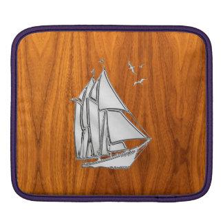 Sailboat Sailing on Teak Veneer Sleeves For iPads