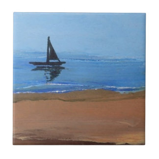 Sailboat Sailing Reflections Ocean Beach Art Small Square Tile
