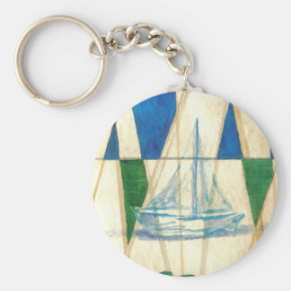 Sailboat Sailing Watercolor Vintage Look Art Keychain