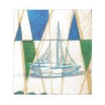 Sailboat Sailing Watercolor Vintage Look Art Note Pads