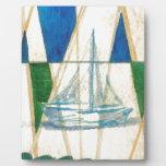 Sailboat Sailing Watercolor Vintage Look Art Photo Plaque