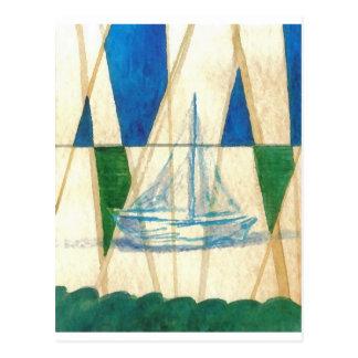 Sailboat Sailing Watercolor Vintage Look Art Postcard