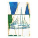 Sailboat Sailing Watercolor Vintage Look Art Custom Stationery