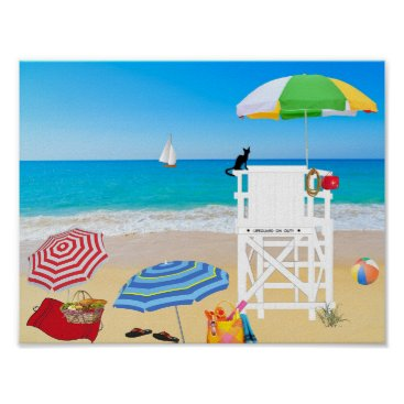 Beach Themed Sailboat Sandy Beach Summer Lifeguard w/ Cat Poster