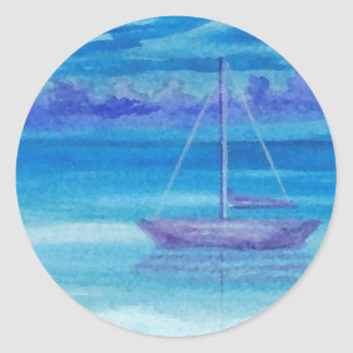 Sailboat Serenity CricketDiane Art Classic Round Sticker