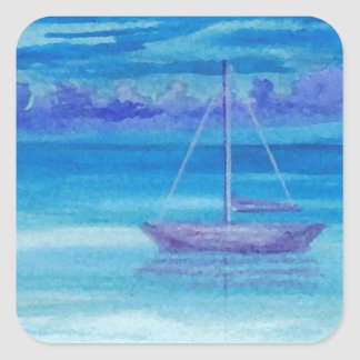 Sailboat Serenity CricketDiane Art Square Sticker