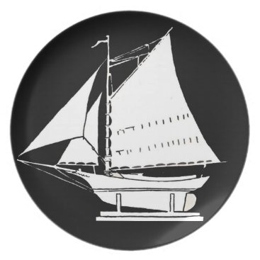 Beach Themed sailboat silhouette dinner plate